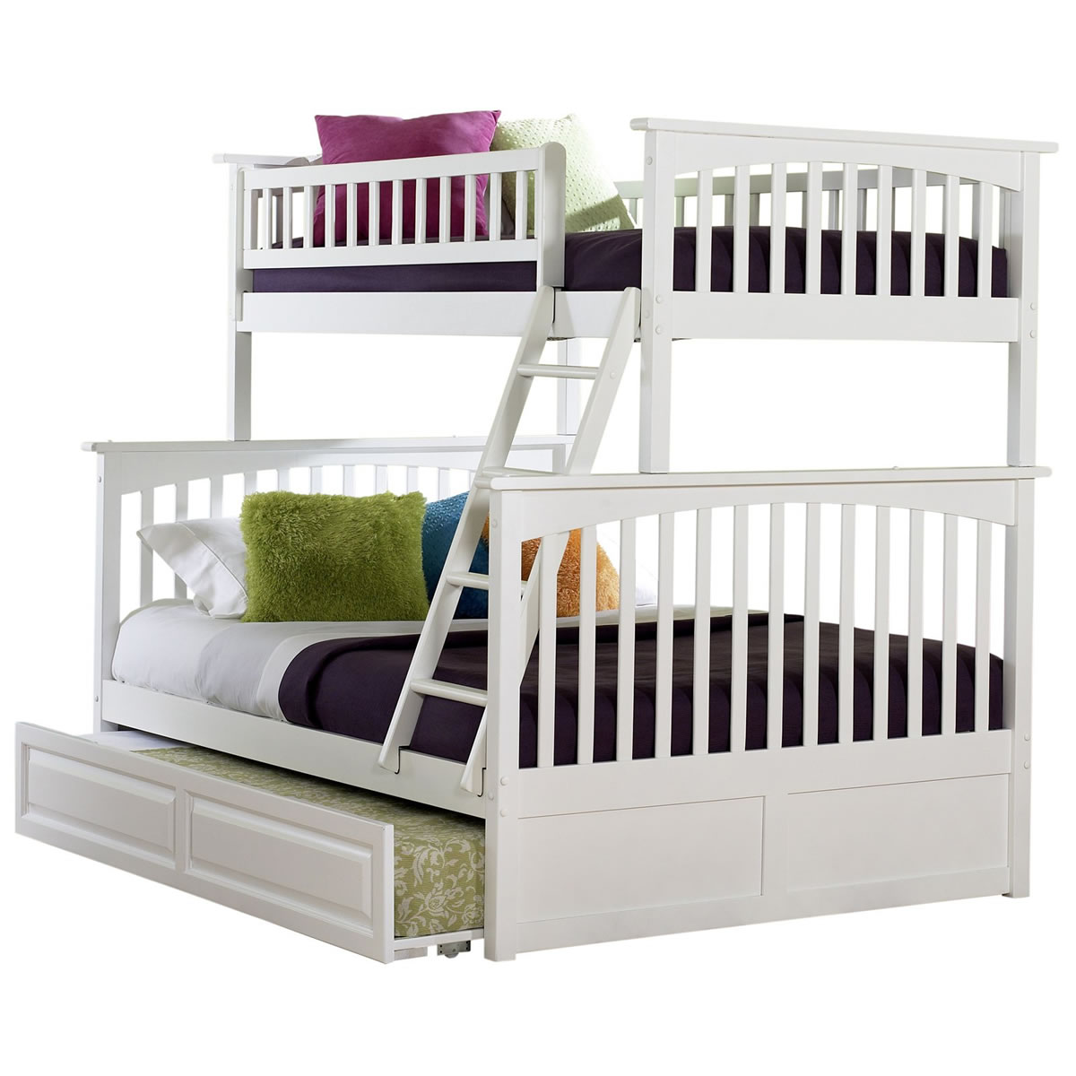 White Twin Over Full Bunk Bed with Trundle 1200 x 1200