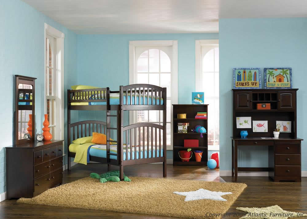 teal bunk bed atlantic furniture richmond twin over twin bunk bed
