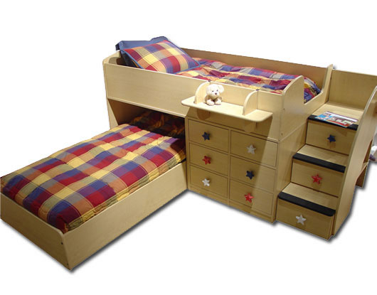 Captainu0027s Bed in Natural Maple  sc 1 st  Bunk Beds HQ & Berg Furniture Sierra Captainu0027s Bed for Two