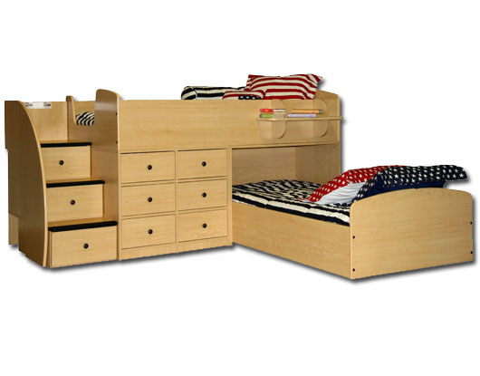 bed for two with stairs - Twin Captains Bed