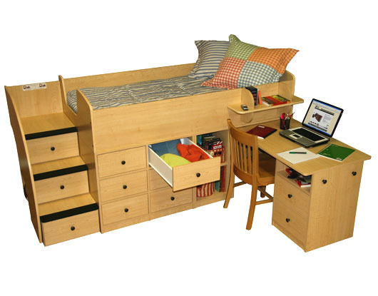 Berg Furniture Sierra Captain S Low Loft Bed With Pull Out