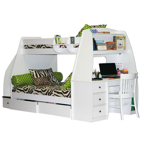 Berg Furniture Enterprise Twin over Full Bunk Bed with Computer ...