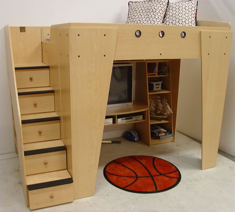 Loft Bed with Entertainment Center for Kid 798 x 718