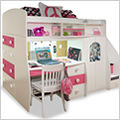 Twin Loft Bed with Play Area and Desk | 91-74-94 | Berg ...