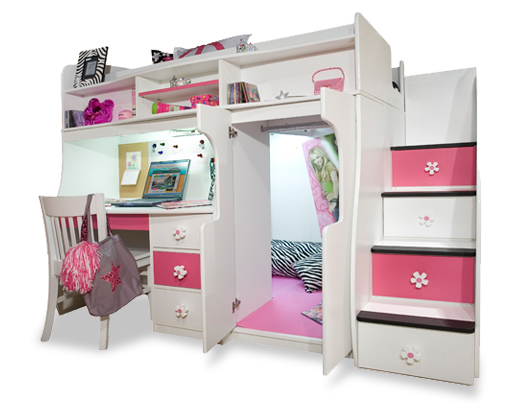 Loft Bed For Girls With Desk: Berg Furniture Play And Study Loft Bed With Computer Desk