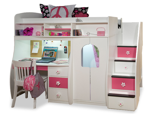Berg Furniture Play and Study Loft Bed with Computer Desk