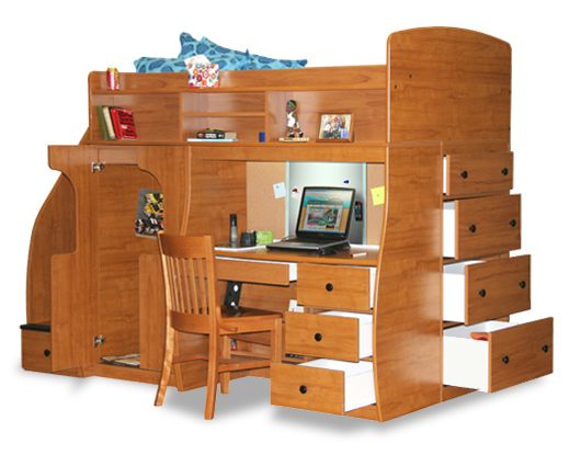 Berg furniture utica twin dorm loft bed with desk and for Kids bed with play area