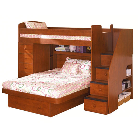 Twin over Full in Chestnut. Berg Furniture Sierra Twin over Full Loft Bed with Chest and Stairs
