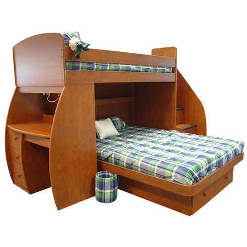 Berg Sierra Space Saver Twin Over Full Loft Bed With Desk And Stairs