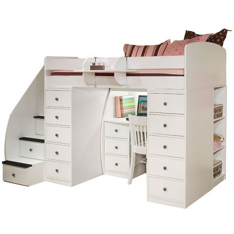 Berg Furniture Sierra Twin Loft Bed with 2 Chests, Staircase ...