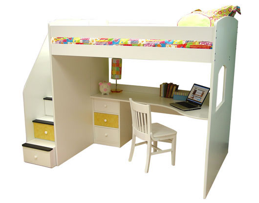 Berg Furniture Utica Full Loft Bed With Study Station