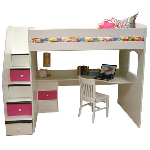Berg furniture utica full loft bed with study station for Study bed plans