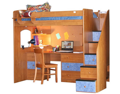 Berg Furniture Utica Twin Dorm Loft Bed With Stairs