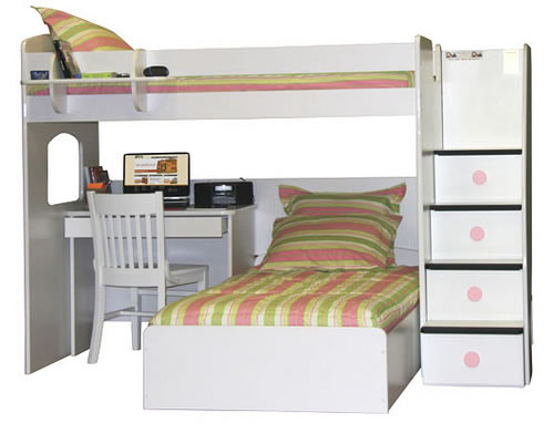 Twin Over Full Bunk Bed with Desk 500 x 392