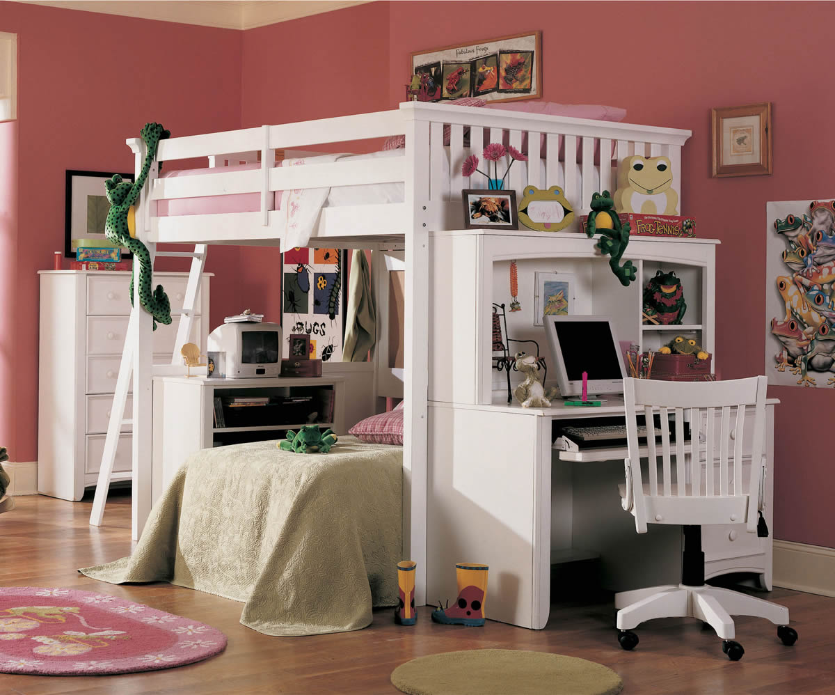 Full Size Loft Bed with Desk 1200 x 998