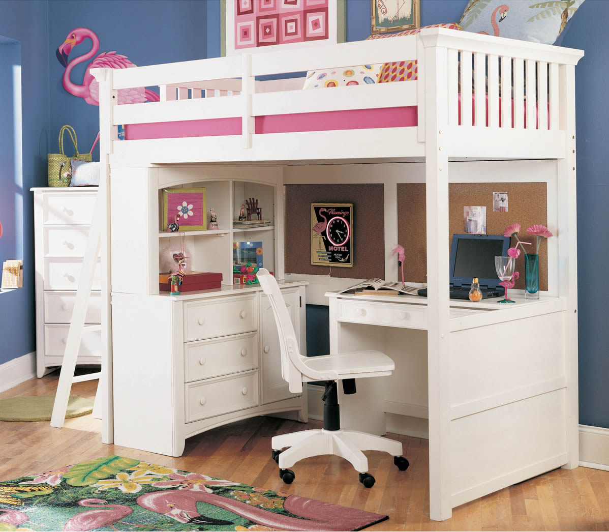 Girls Loft Bunk Beds with Desk 1198 x 1046