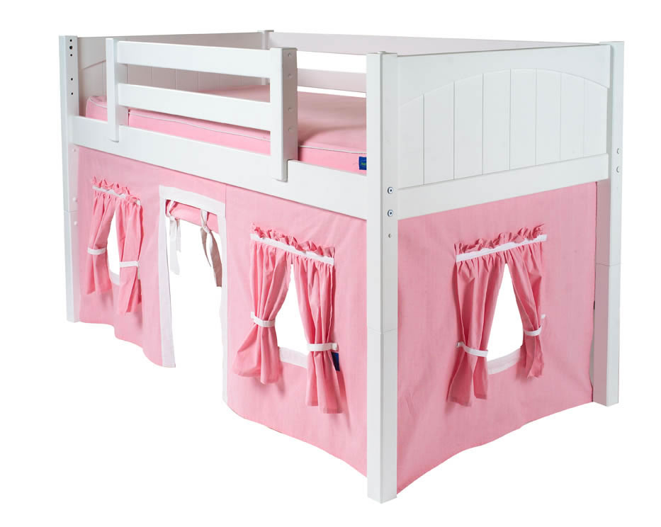 Maxtrix Kids Playhouse Loft Bed With Tent And Slide