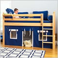 Low Twin Loft Bed with Curtain