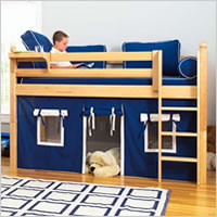 Twin Low Loft Bed with Curtain