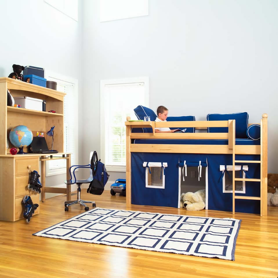 Maxtrix Kids Twin Low Loft Bed With Underbed Curtain