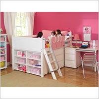 Berg Furniture Sierra Captain's Low Loft Bed with Pull-Out Desk ...