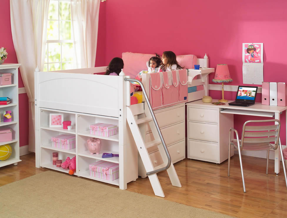 maxtrix kids full low loft bed with desk dresser and bookcase. Black Bedroom Furniture Sets. Home Design Ideas