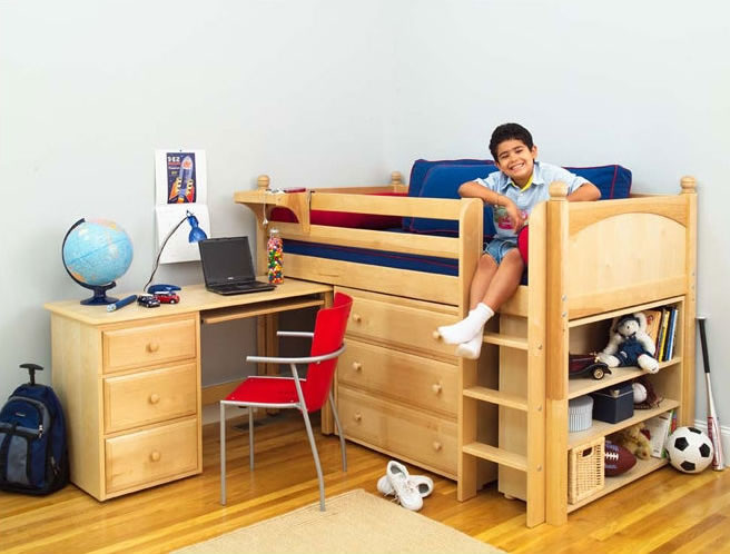 Maxtrix Kids Twin Low Loft Bed with Desk, Dresser and Bookcase