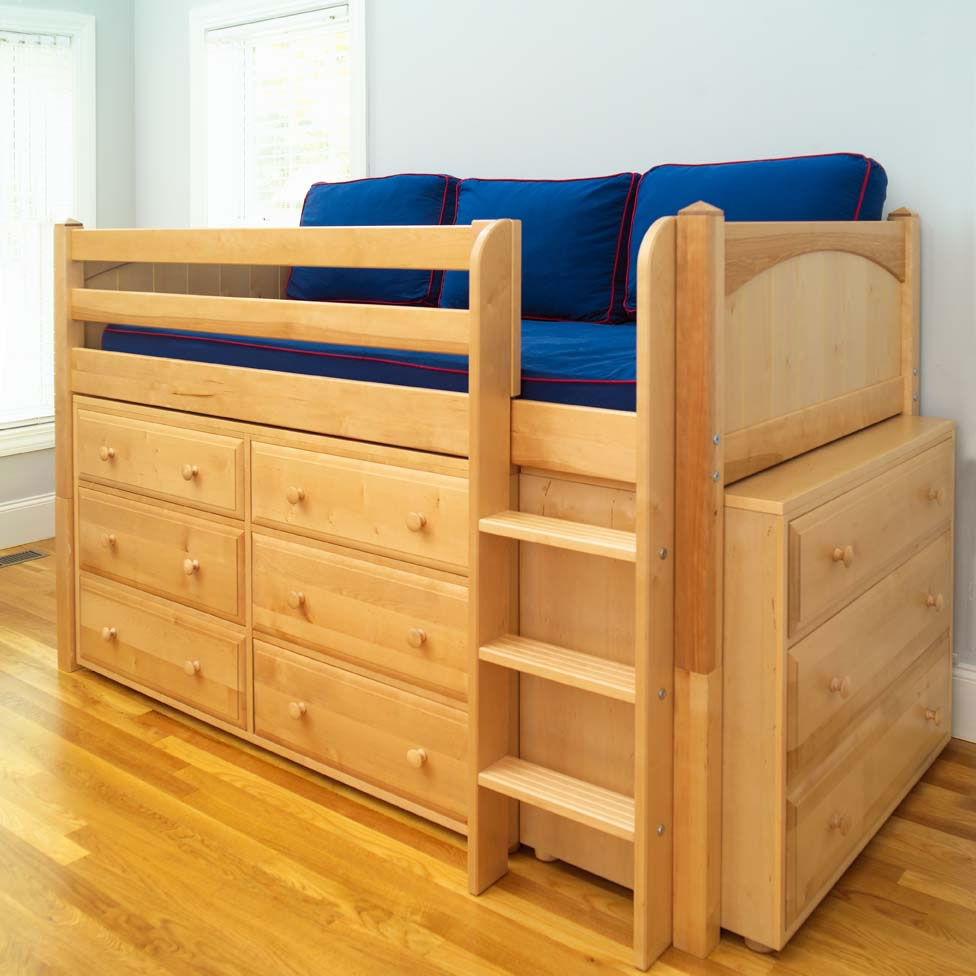 Maxtrix Kids Low Loft Bed With Two Dressers