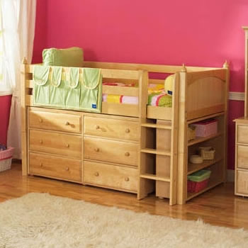 Maxtrix Kids Twin Low Loft Bed with 6-Drawer Dresser and Bookcase
