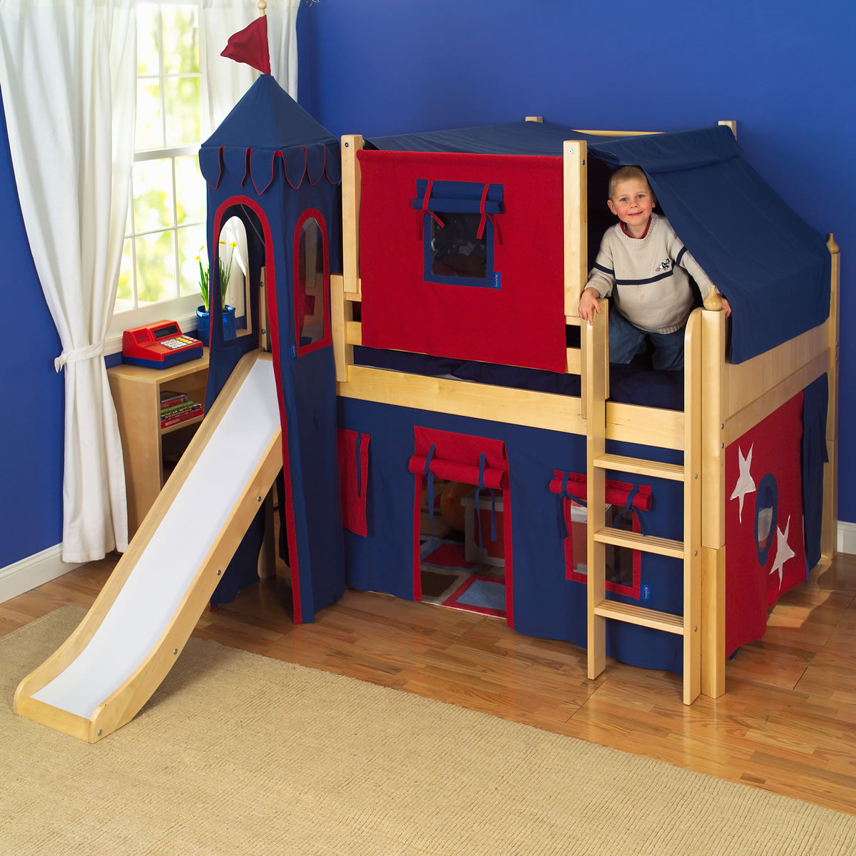 White wooden bunk bed with slide for Boys loft bedroom ideas