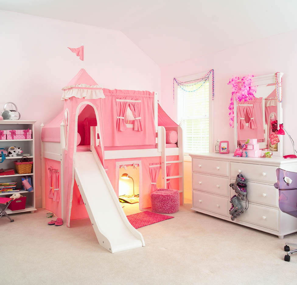 & Maxtrix Kids Princess Castle Loft Bed with Slide