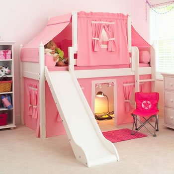 & Maxtrix Kids Playhouse Loft Bed with Tent and Slide