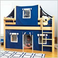 Twin Size Low Loft Bed with Tent