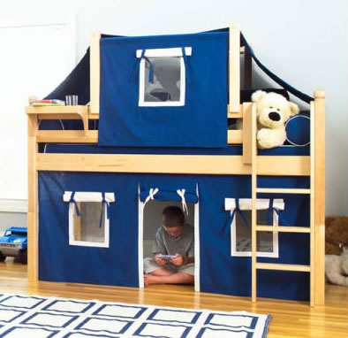 Maxtrix Kids Twin Low Loft Bed with Curtain and Top Tent : bunk beds with tent - memphite.com