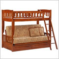 Cinnamon Futon Bunk Bed in Cherry