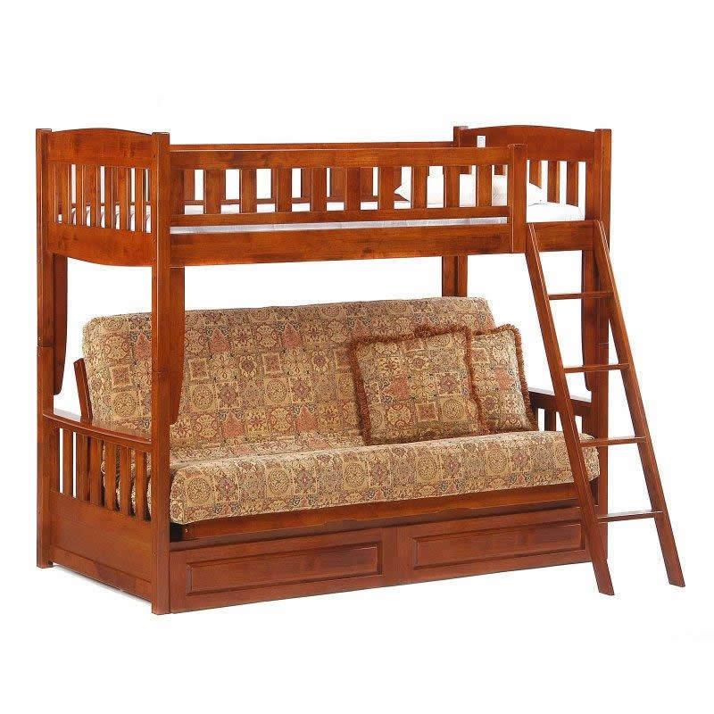 Cinnamon Futon Bunk Bed In Cherry