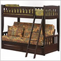 Cinnamon Futon Bunk Bed in Chocolate