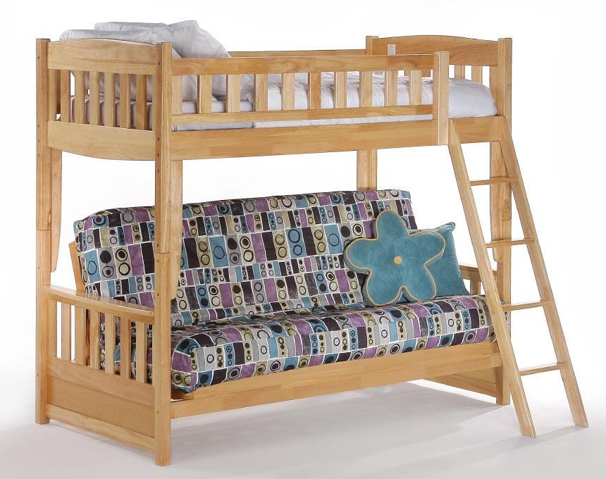 Cinnamon Futon Bunk Bed In Natural