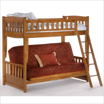Night And Day Cinnamon Futon Bunk Bed In Medium Oak