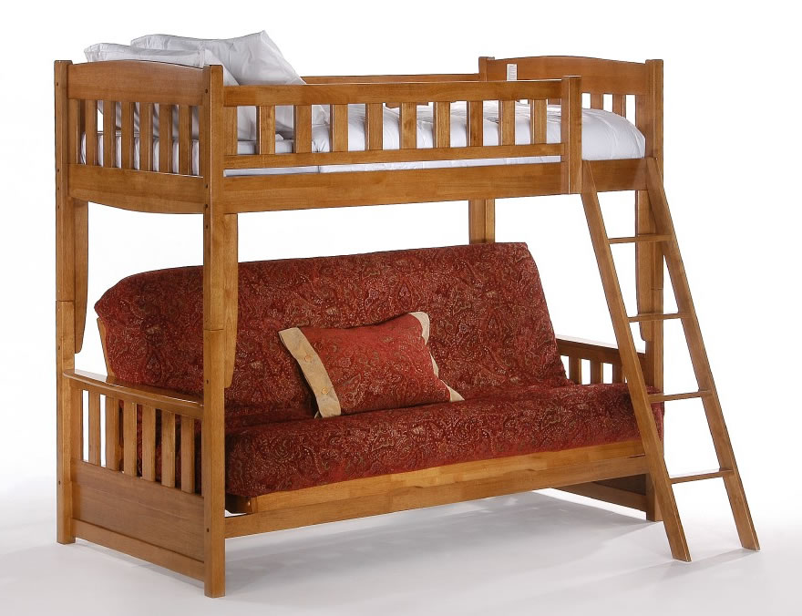 Night Day Cinnamon Twin Over Futon Bunk Bed