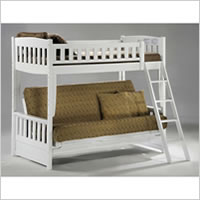 Night and Day Cinnamon Futon Bunk Bed in White