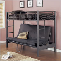 Powell Matte Black Texture Futon Bunk Bed