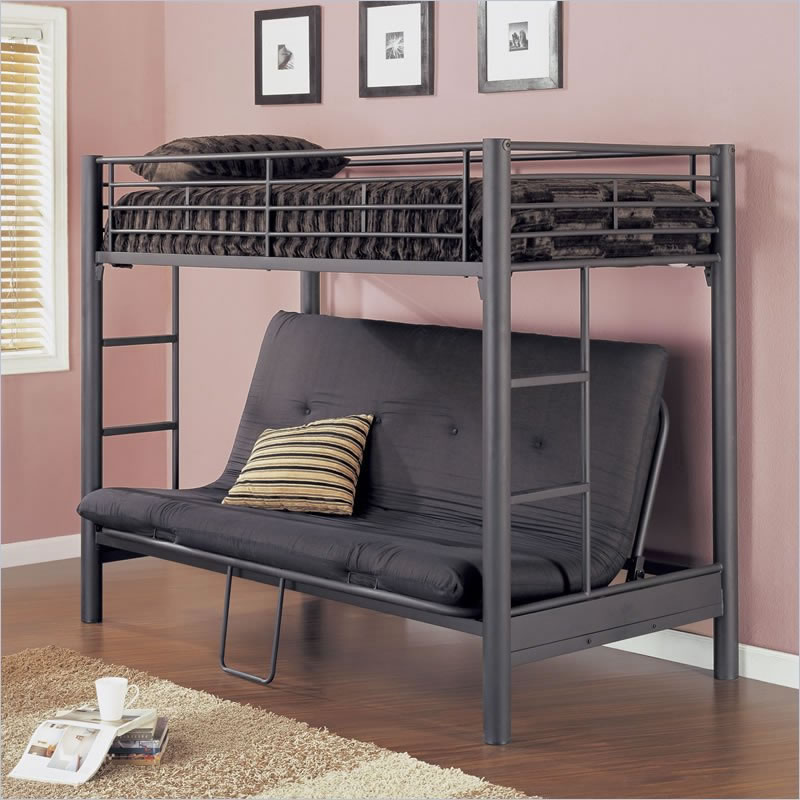 powell black matte futon bunk bed powell matte black textured twin over futon metal bunk bed  rh   bunkbeds hq