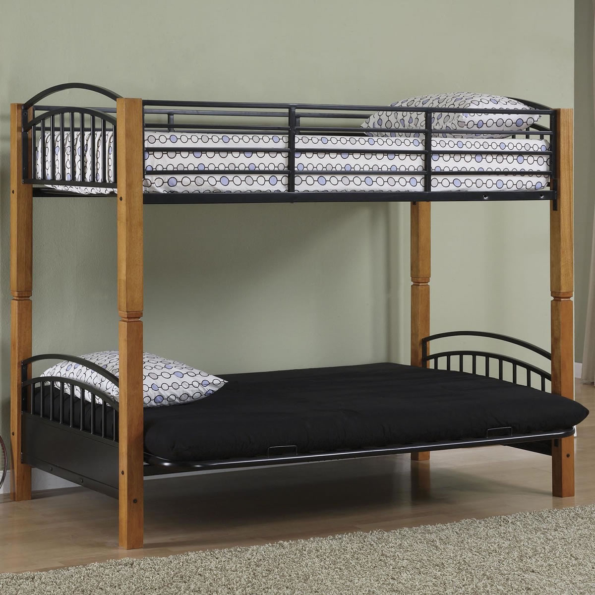 Powell Matte Black and Country Pine Twin over Futon Metal Bunk Bed