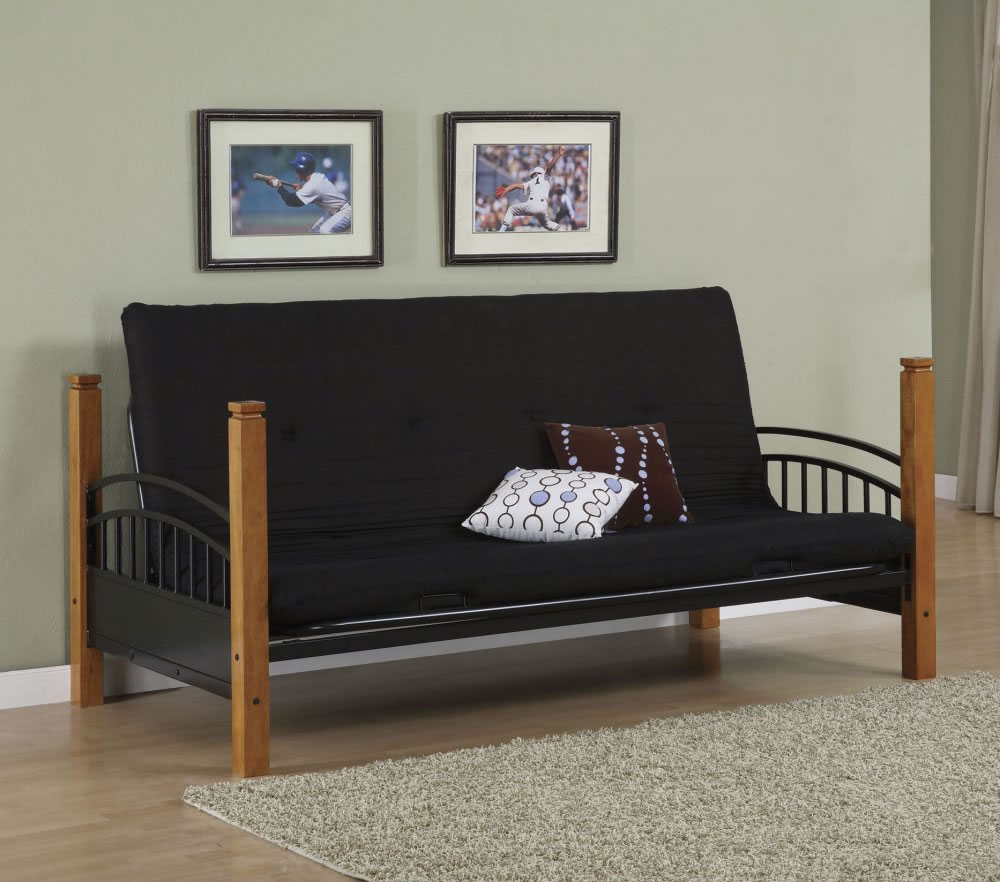 Powell White Twin Bedroom In A Box: Powell Matte Black And Country Pine Twin Over Futon Metal