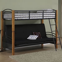 Powell Matte Black and Country Pine Twin over Futon