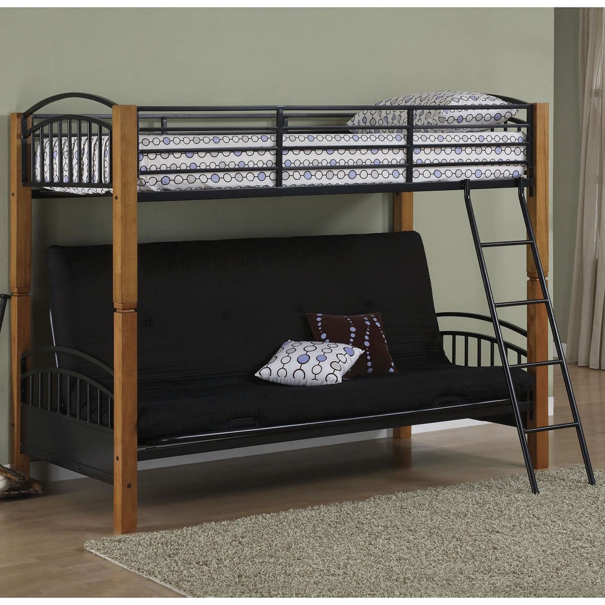 Powell Matte Black Country Pine Twin Over Futon Bunk Bed