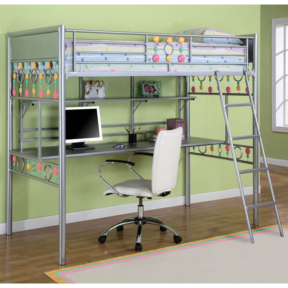 Powell Bauble Girls Twin Metal Loft Bed with Study Desk