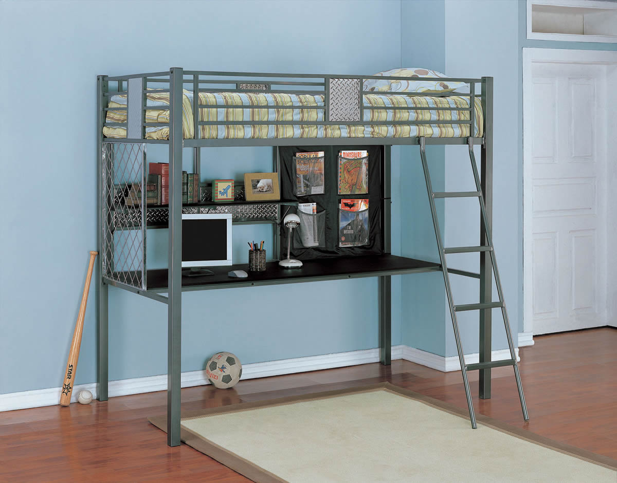 Powell Monster Bedroom Metal Twin Study Loft Bed
