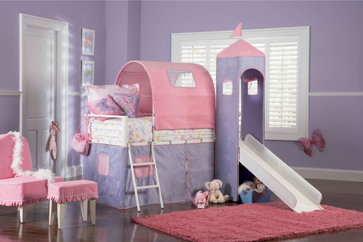 Powell Princess Castle Twin Size Tent Loft Bed with Slide